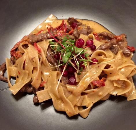 Фермерский ресторан LavкаLavка: Rye Pasta with reindeer and wild berries