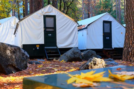 Outside tent picture of half dome village yosemite for Half dome tent cabins