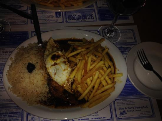 East Providence, RI: lombinhos dish - added a fried egg and served with french fries and rice - YUM!