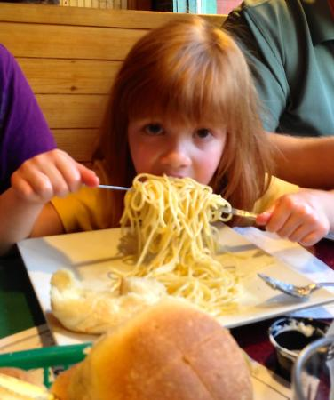 Sweet Basilico Cafe : Kids buttered noodles and homemade Bismarck rolls, fit for a queen!