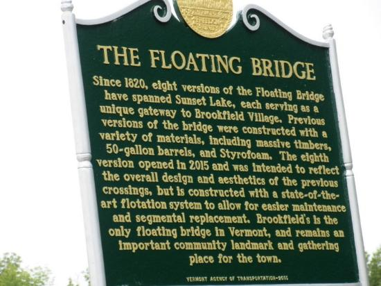 Brookfield, VT: Historic Marker for the Floating Bridge
