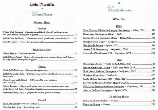 Sample Dining Menu - Picture Of Lena Parrilla, West Bay - Tripadvisor