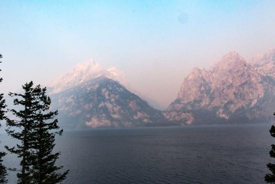 Grand Teton: Jenny Lake through the smoky haze of the wildfires