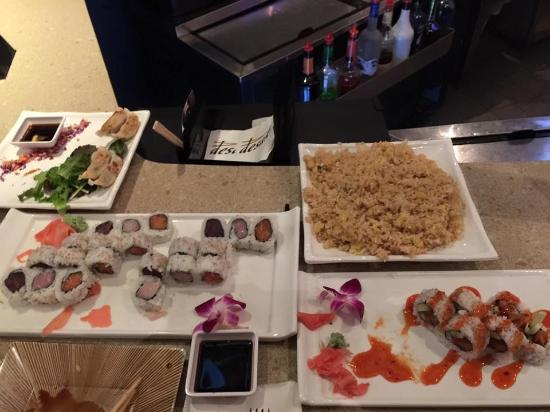Swiftwater, PA: Tuna, Salmon, Dynomite rolls, dumplings and rice