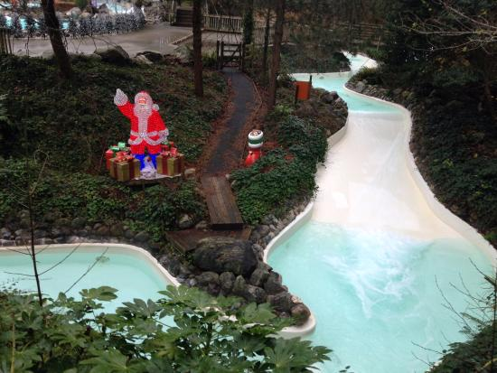 The Outside Heated Pool Area With A Random Santa Picture Of Center Parcs Longleat Forest