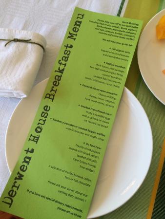 Derwent House Boutique Hotel: Breakfast Menu