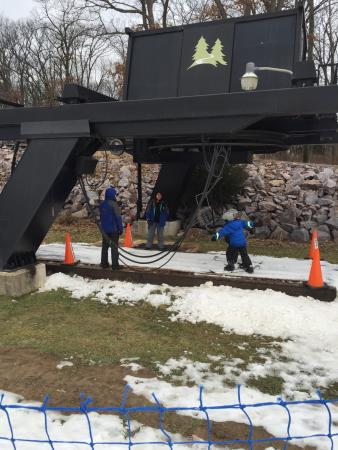 Portage, WI: Bunny hill lift with man-made snow.