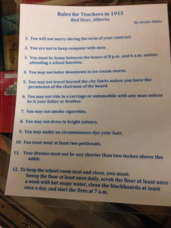 Powell River, Kanada: School teacher's rules to obey (from Red Deer but prob applicable here)