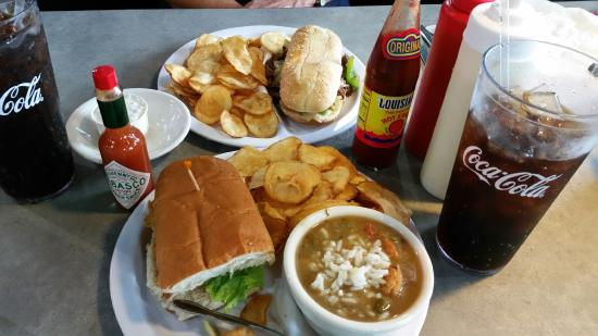 The Gulf Bowl: Shrimp Poboy, Gumbo and Steak Lunch