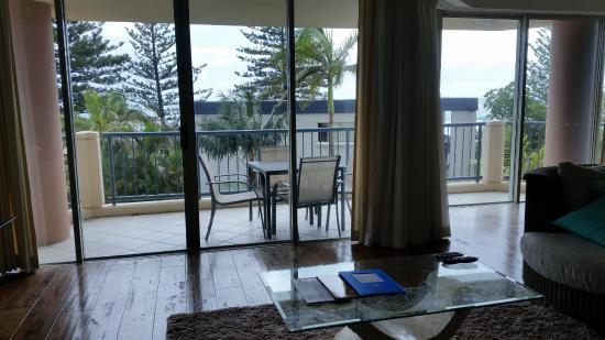 Oceana on Broadbeach: Room 73 Living room see 'some' ocean.