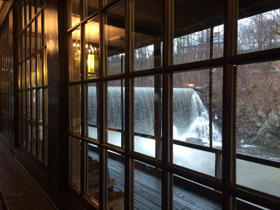 Weston, CT: View out the window of the waterfall