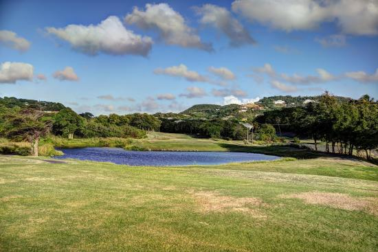 St. Lucia Golf Club: Looking back at the 2nd hole green from 3rd hole tee