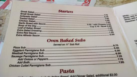 Italian Pizza & Pasta Restaurant: Apps, sandwiches.
