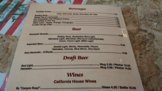 Italian Pizza & Pasta Restaurant: Soft drinks, beer, draft beer choices.