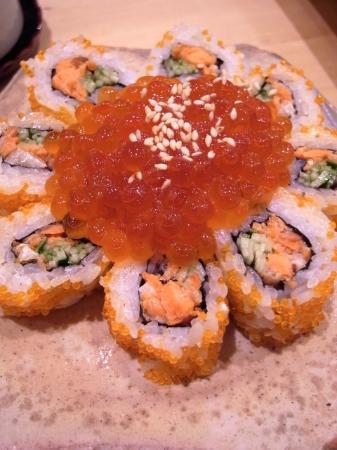 Tsukiji Sushisay Honten: 裏巻(焼いた鮭はらす/胡瓜/飛び子/乗り/イクラ/胡麻)