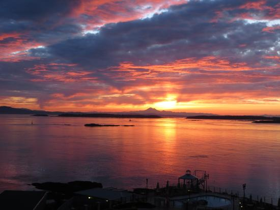 Oak Bay Beach Hotel: View from our window with sunrise and Mt. Baker in Background