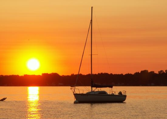 Lagos Finger, estado de Nueva York: Lake Owasco (Finger lakes NY) at sunset