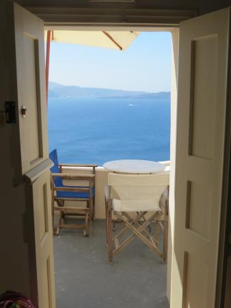 Old Oia Houses: View from Kitchen onto patio/balcony & the Caldera