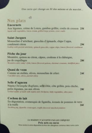 Carte Corse Restaurant.Carte Des Vins Photo De La Villa Corse Paris Tripadvisor