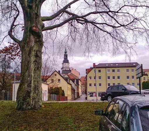 AKZENT Hotel Frankenberg: Дорога от отеля к пешеходной зоне