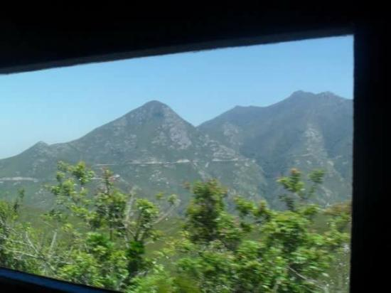 Outeniqua Transport Museum: View from the power van of Outeniqua mountains.