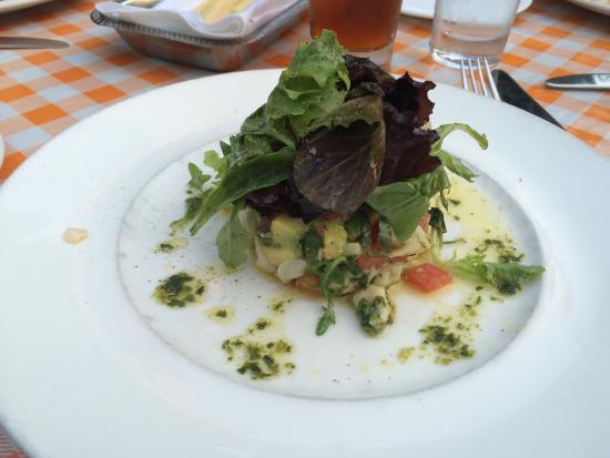 Bethesda, MD: Crab, avocado, tomato, and basil tower
