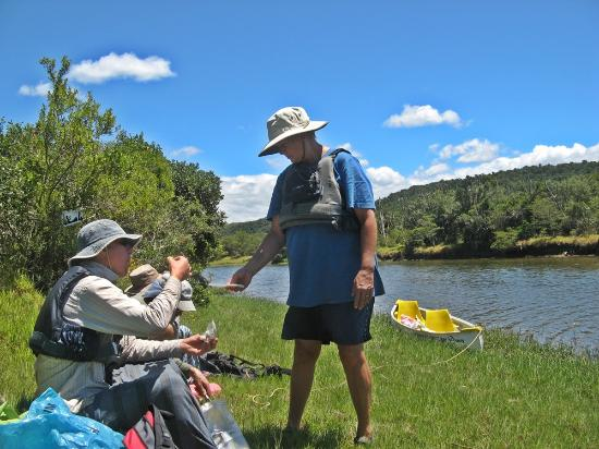 Shipwreck Hiking & Canoe Trails: Snack break on the banks of the river
