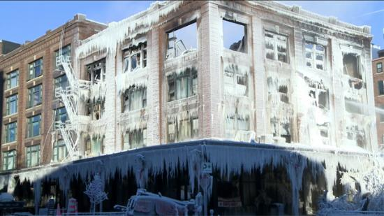 M's Pub encased in ice after the Firefighter's efforts on a freezing day
