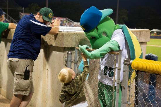 Beloit Snappers : Snappy Turtle making friends with a young fan