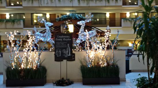 embassy suites by hilton kansas city overland park managers reception sign among the many - Hotel Christmas Decorations
