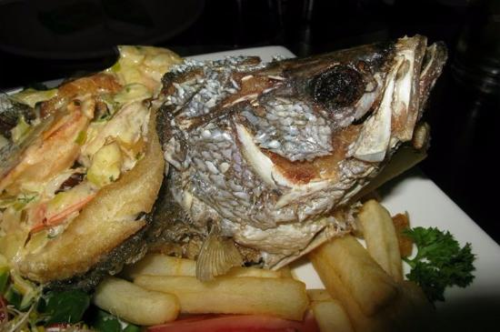 Cooktown, Australia: Scollop and prawn stuffed barra in creamy wine sauce