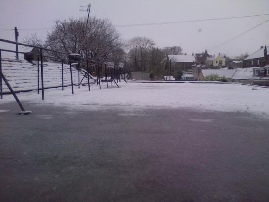 Sanquhar, UK: Snow scene from bedroom window