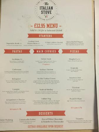 Example  Menu  Picture Of The Italian Stove South Shields