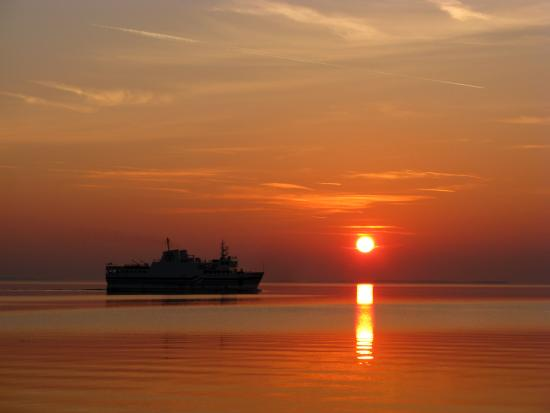 On Pelee Time: ferry in the sunset