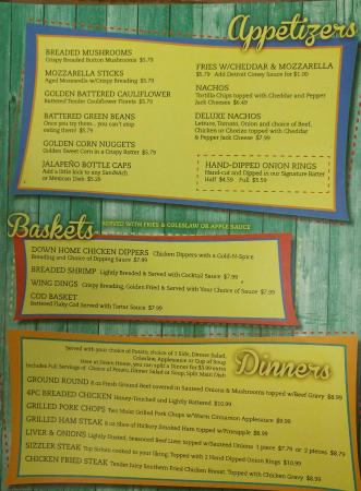 Menu foto di down home family restaurant greenville - Home restaurant normativa ...