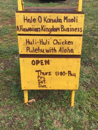 Huli Huli Chicken sign
