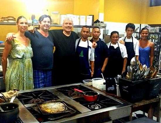 Cocles, Costa Rica: Irene and Sianny at the ends and me and Ilario in the middle. with his kitchen staff.