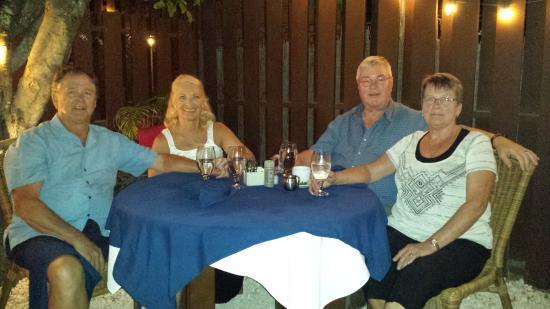Malmok Beach, Aruba: dinner with new friends at nearby restaurant