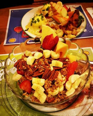 Cora - Sunridge Mall: Eggs benedict and greek yogurt porfait. ..