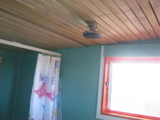 Karikari Peninsula, Neuseeland: The shower in the Pohutukawa cabin.