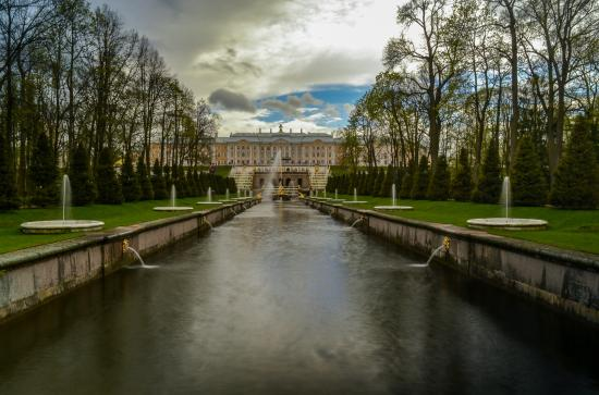 St. Petersburg, Russia: View towards the Summer Palace, Peterhof