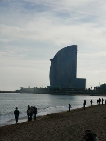 W Barcelona: view of hotel from beach areas