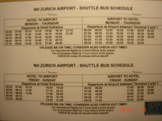 Opfikon, Switzerland: チューリッヒ空港送迎バス時刻表
