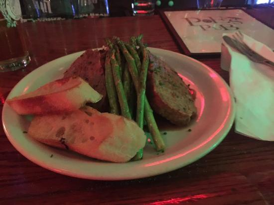 Poe's Pub: Meatloaf covered in a beefy demiglaze with a side of mashers & asparagus
