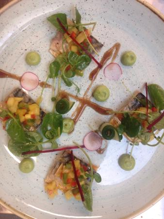 Banbridge, UK: Mackerel, mango salsa,tamarind and avocado purée
