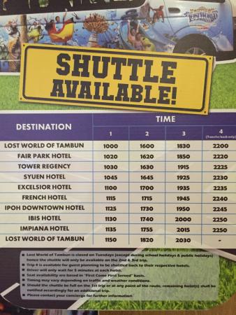 Shuttle Service Schedule To The Lost World Of Tambun Picture Of Mu