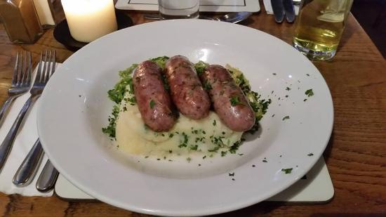 The Angel at Addington Green: Goose and red currant sausages