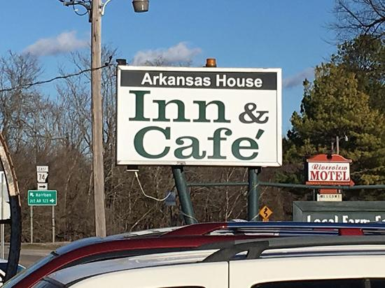 Jasper, AR: The sign outside the Arkansas House Cafe