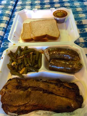 Good eats for $11. Brisket, Boudin sausage and beans.