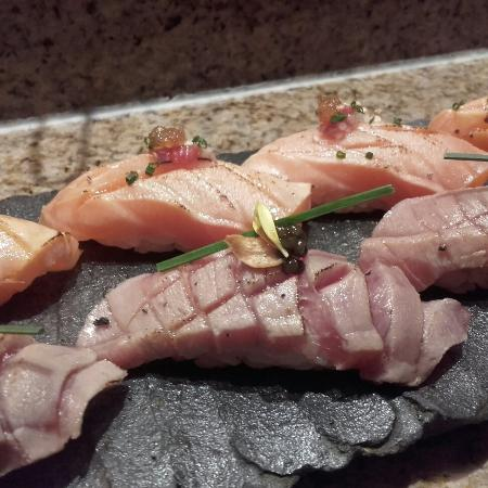 Zuma: Amazing O-toro niguiri with Osietra caviar. It melts in your mouth